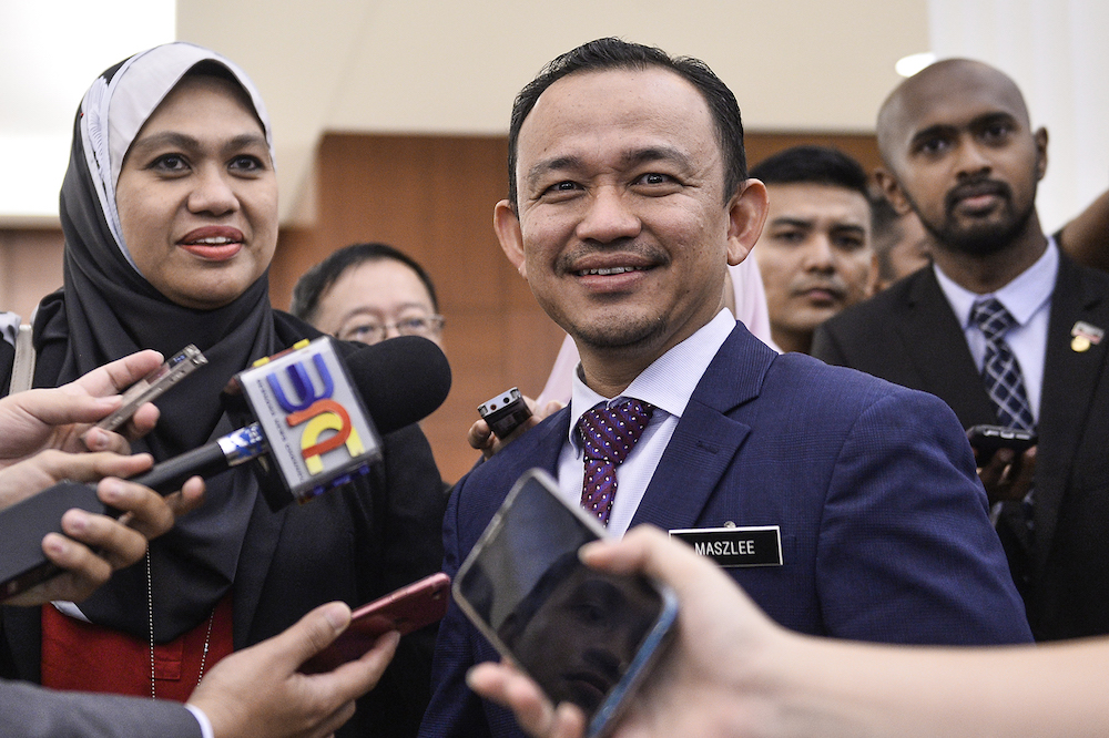 Education Minister Maszlee Malik speaks to reporters at Parliament October 9, 2019. — Picture by Miera Zulyana
