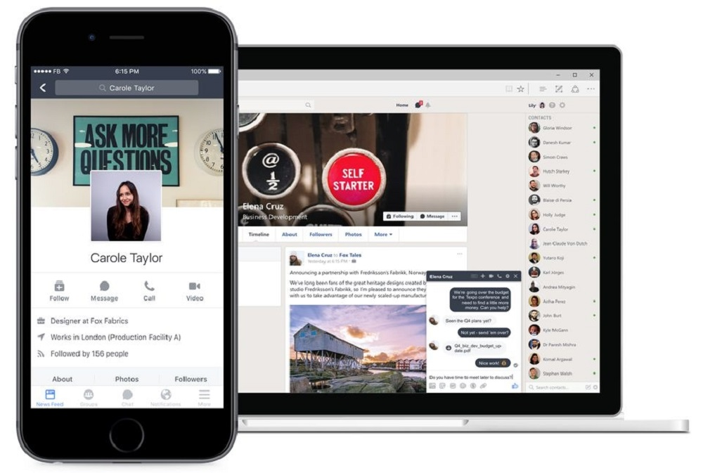 Facebook says its Workplace business software has grown by about 40 per cent in a year to reach seven million paying subscribers. — Picture courtesy of Facebook via AFP