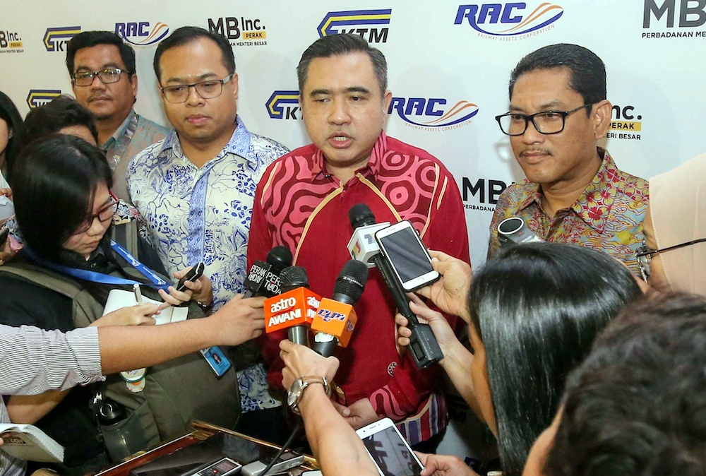 Transport Minister Anthony Loke speaks to reporters at the launch of the Electric Train Service 2 (ETS2) and the Integrated Development of Ipoh Train Station project in Ipoh October 10, 2019. — Picture by Farhan Najib