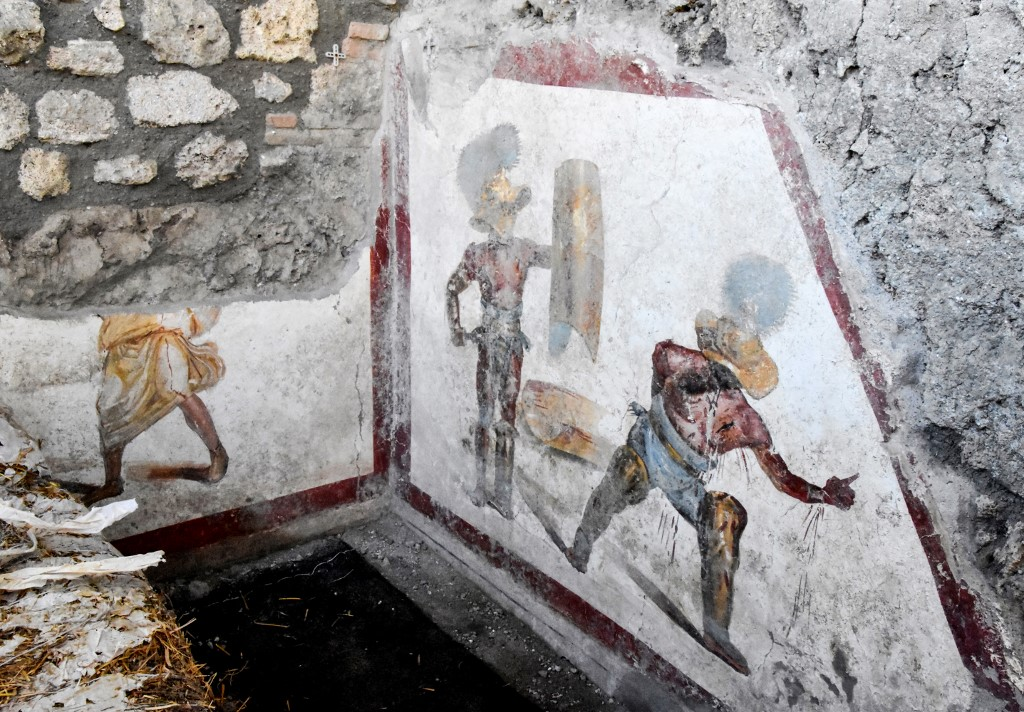 This handout picture taken on October 9, 2019 and released on October 11,2019 by the press office of the Pompeii Archaeological Park shows a recently-discovered fresco. — AFP pic