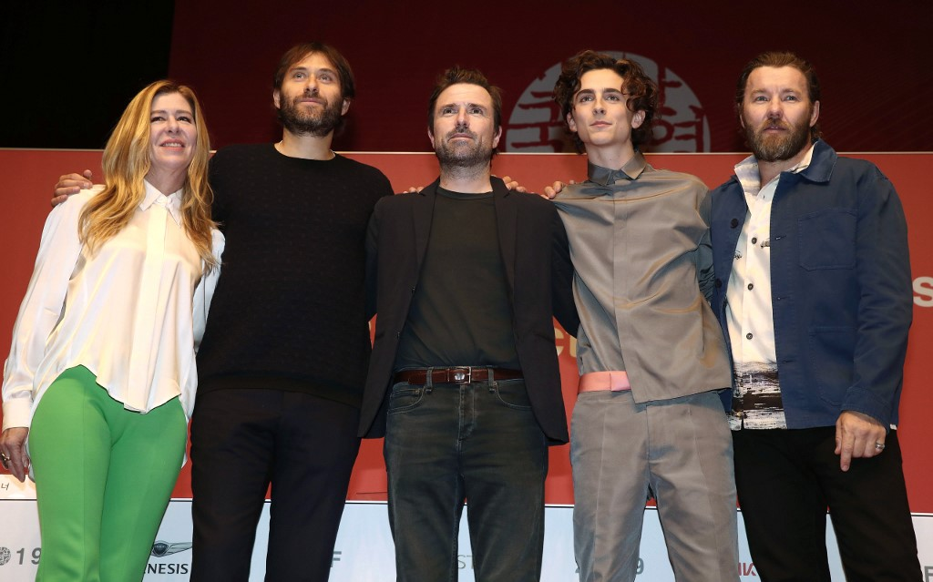 Producer Dede Gardner, producer Jeremy Kleiner, director David Michod, actor Timothee Chalamet and actor Joel Edgerton pose during a press conference of Gala Presentation 'The King' for the Busan International Film Festival (BIFF) in Busan on October
