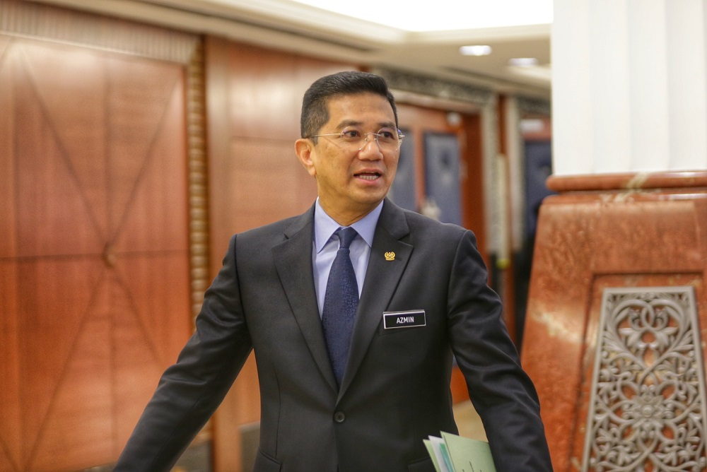 Economic Affairs Minister Datuk Seri Azmin Ali is pictured at the Parliament lobby October 15, 2019. — Picture by Ahmad Zamzahuri