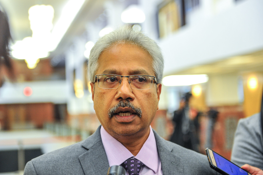 Minister in the Prime Minister's Department Senator P. Waytha Moorthy says the Orang Asli community Hulu Selangor should be allowed to bring out bamboos and other forest products from the nearby forests. — Picture by Firdaus Latif