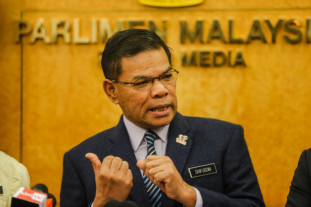 Domestic Trade and Consumer Affairs Minister Datuk Seri Saifuddin Nasution Ismail speaks during a press conference in Parliament October 31, 2019. — Picture by Firdaus Latif