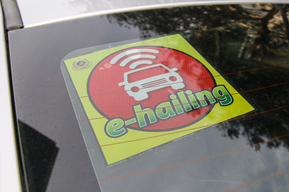 An e-hailing sticker is seen on a car windscreen in Kuala Lumpur October 31, 2019. — Picture by Yusof Mat Isa