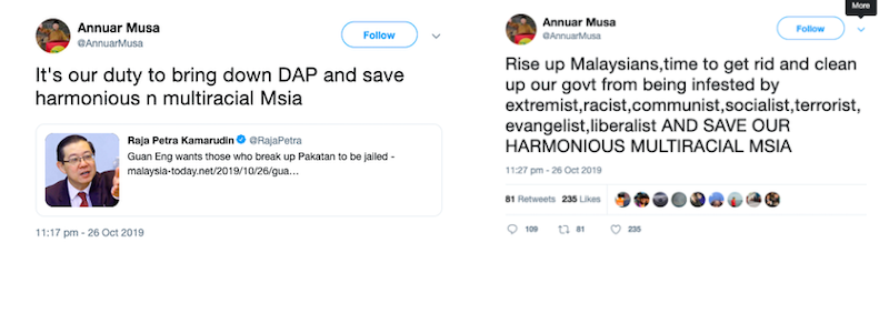 Screengrabs of Annuar Musa's tweets.