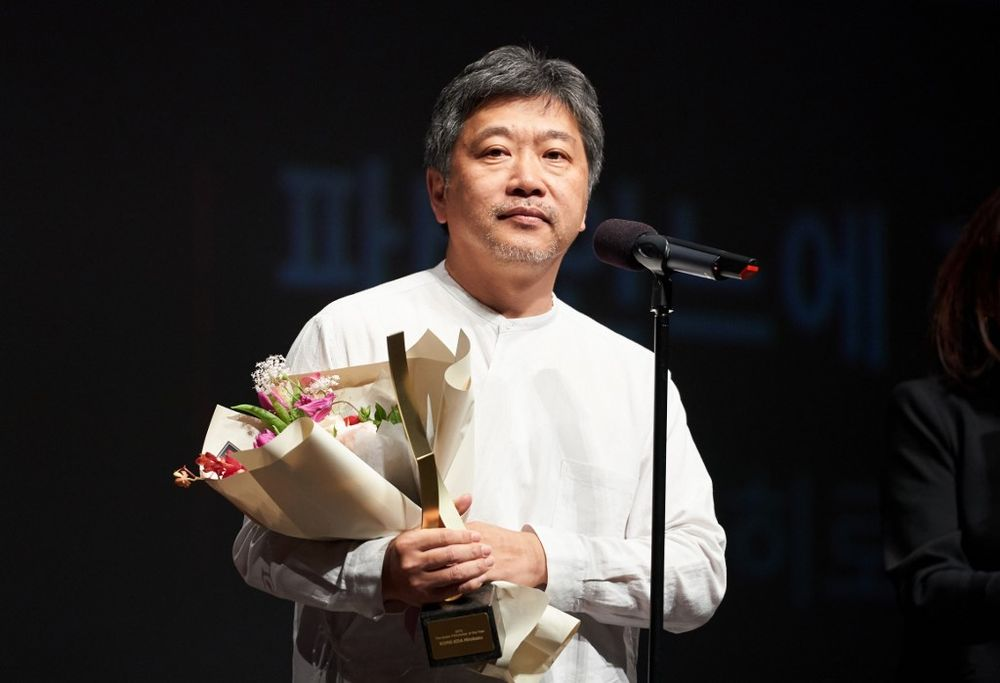 Japanese director Hirokazu Kore-eda during a ceremony for the Asian Filmmaker of the Year Award by BIFF in Busan, October 5, 2019. — AFP pic