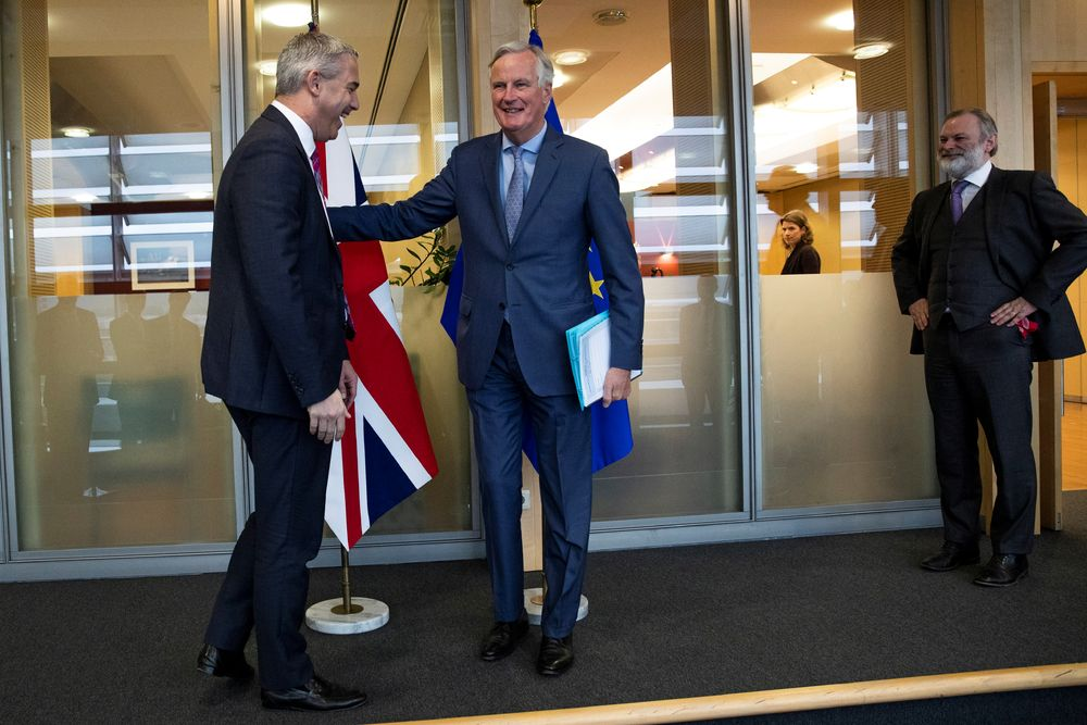Britain's Brexit Secretary Stephen Barclay poses with European Union's chief Brexit negotiator Michel Barnier ahead of a meeting at the EU Commission headquarters in Brussels, October 11, 2019. — Francisco Seco/Pool pic via Reuters