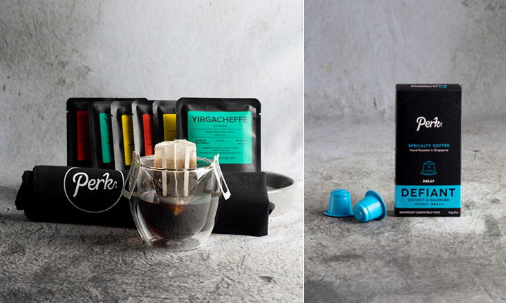 Some of Perk Coffee's offerings include single-serve drip bags and Nespresso compatible PerkPods