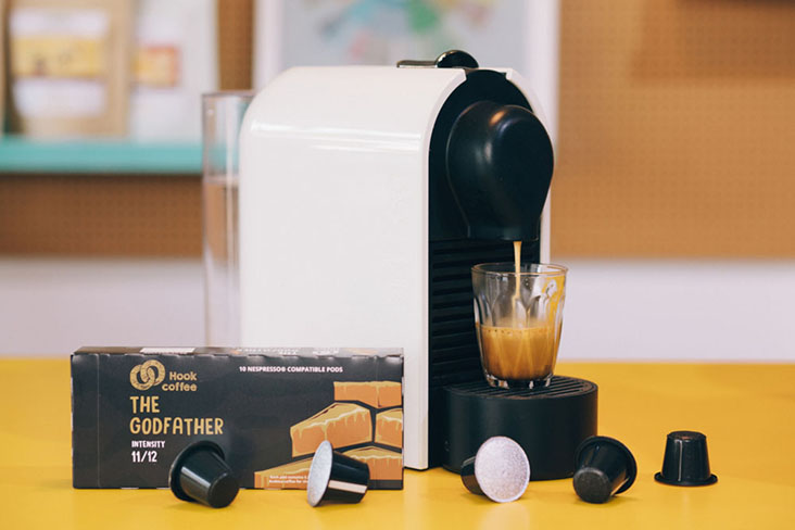 """The Godfather ShotPods is wittily marketed as """"Strong and powerful like The Godfather of the mafia... with an aromatic dark Italian roast"""""""