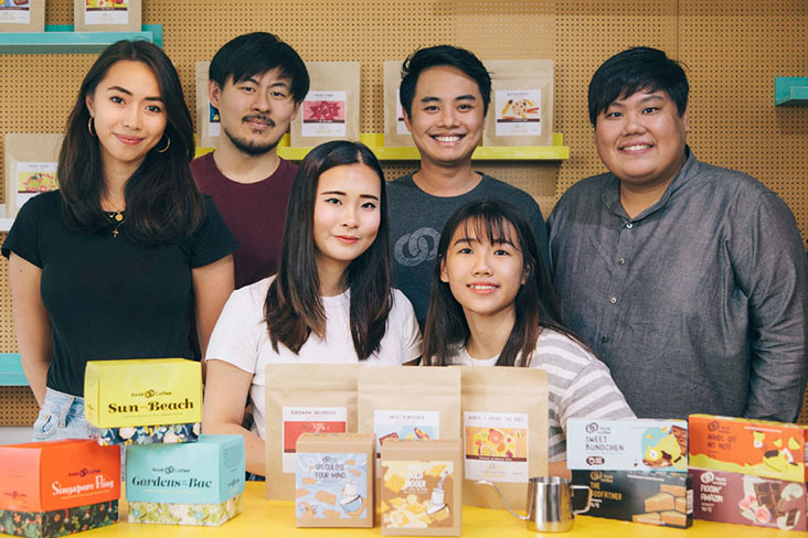 Ernest Ting (back, second from right) and his team at Hook Coffee