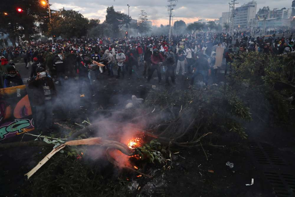 Demonstrators build barricades and start a fire during a protest against Ecuador's President Lenin Moreno's austerity measures in Quito, Ecuador October 11, 2019. ― Reuters pic