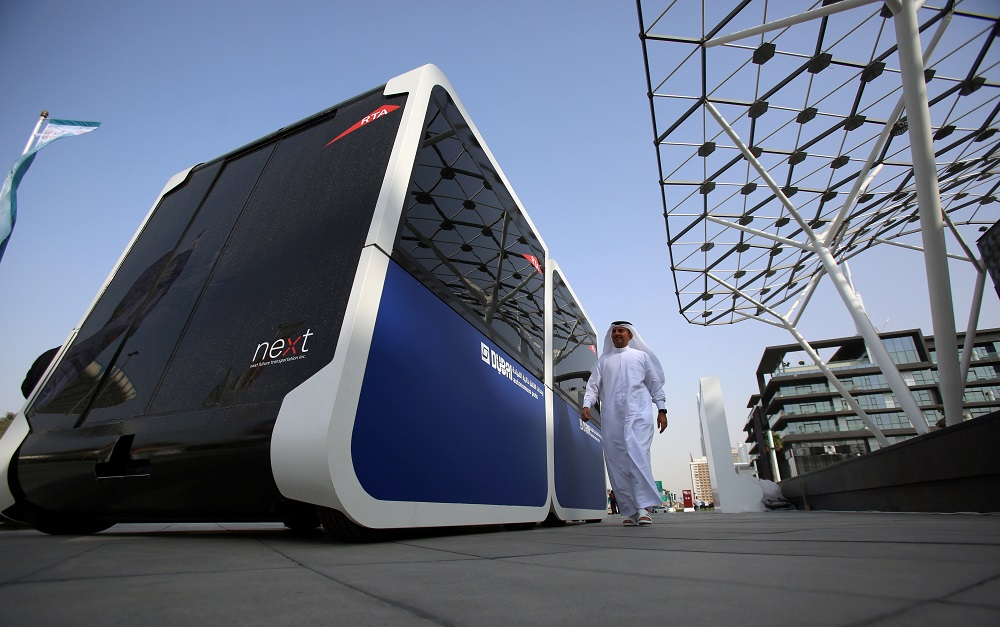 A man walks past the world's first autonomous pods which was launched by the Roads and Transport Authority of Dubai in Dubai, United Arab Emirates February, 28, 2018. — Reuters pic