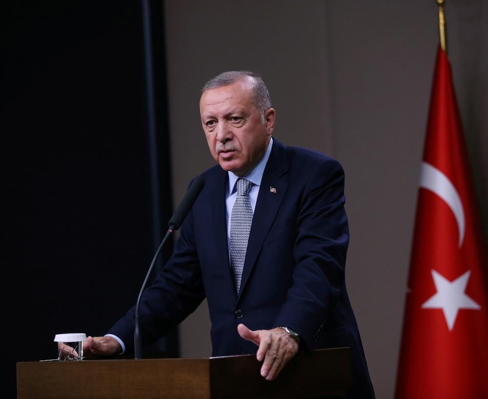 Turkish President Tayyip Erdogan talks during a news conference at Esenboga International Airport in Ankara, Turkey, October 22, 2019. — Murat Kula/Presidential Press Office handout pic via Reuters