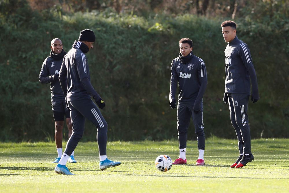 Manchester United's Marcus Rashford with Ashley Young, Jesse Lingard and Mason Greenwood during training at Aon Training Complex, Manchester, October 23, 2019. —Action Images via Reuters