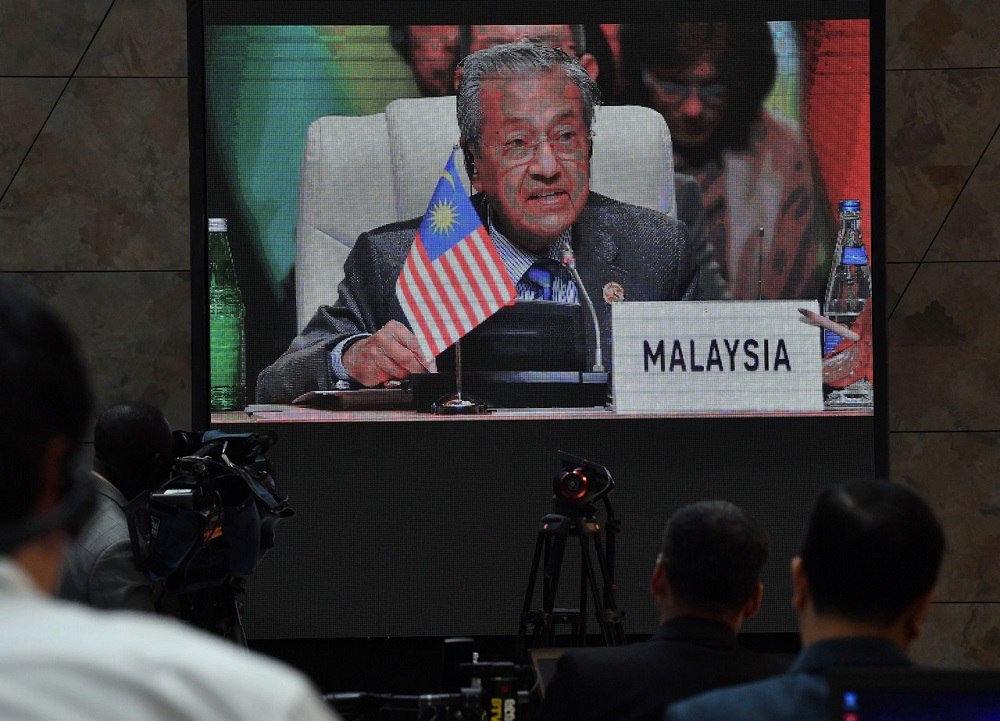 Prime Minister Tun Dr Mahathir Mohamad made the announcement on the opening of a Malaysian embassy in Jordan accredited to Palestine at the 18th NAM summit in Baku yesterday. — Bernama pic
