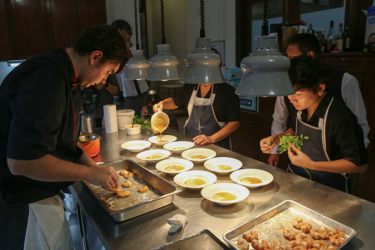 For lunch, the kitchen went full steam ahead to serve fine French food using local ingredients.