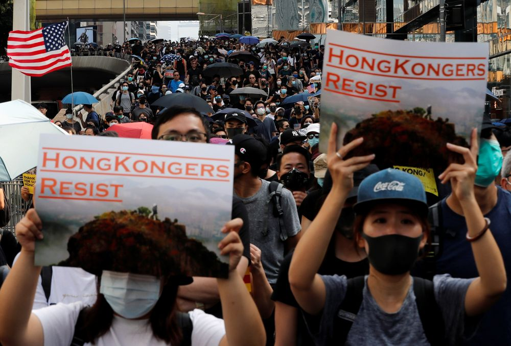Anti-government demonstrators attend a protest march in Hong Kong, China, October 20, 2019. — Reuters pic
