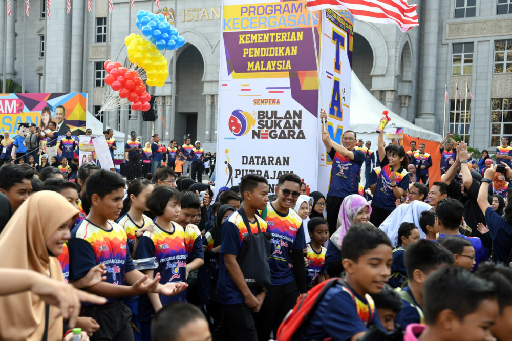 The helium balloons exploded at the tail end of the Education Ministry's 2019 National Sports Month event at Dataran Putrajaya October 12, 2019. — Bernama pic