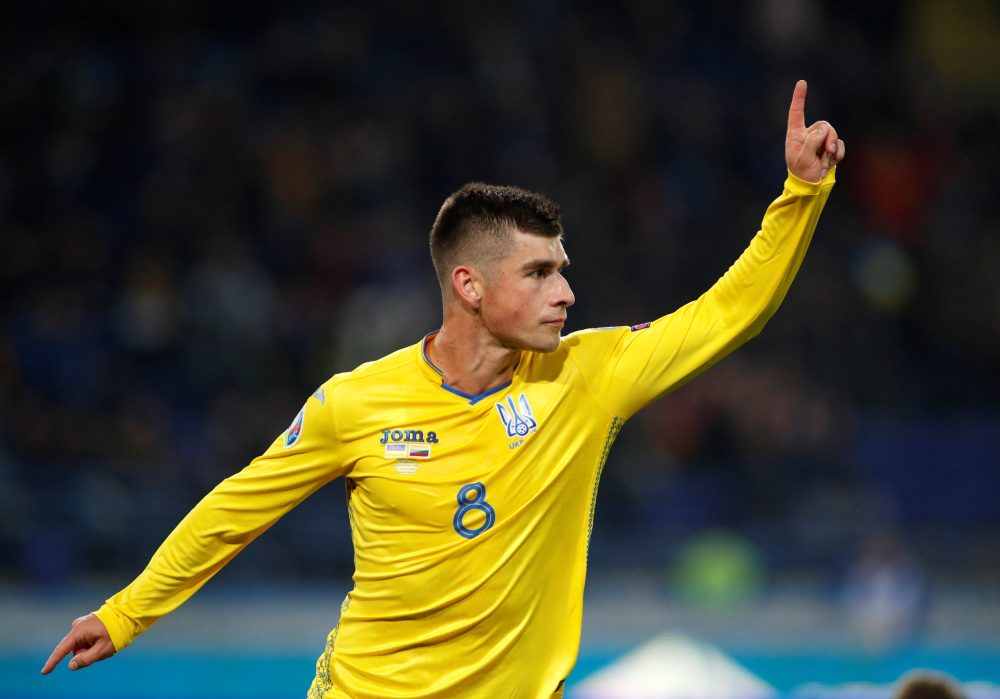 Ukraine's Ruslan Malinovskyi celebrates after scoring the first goal against Lithuania October 12, 2019. ― Reuters pic