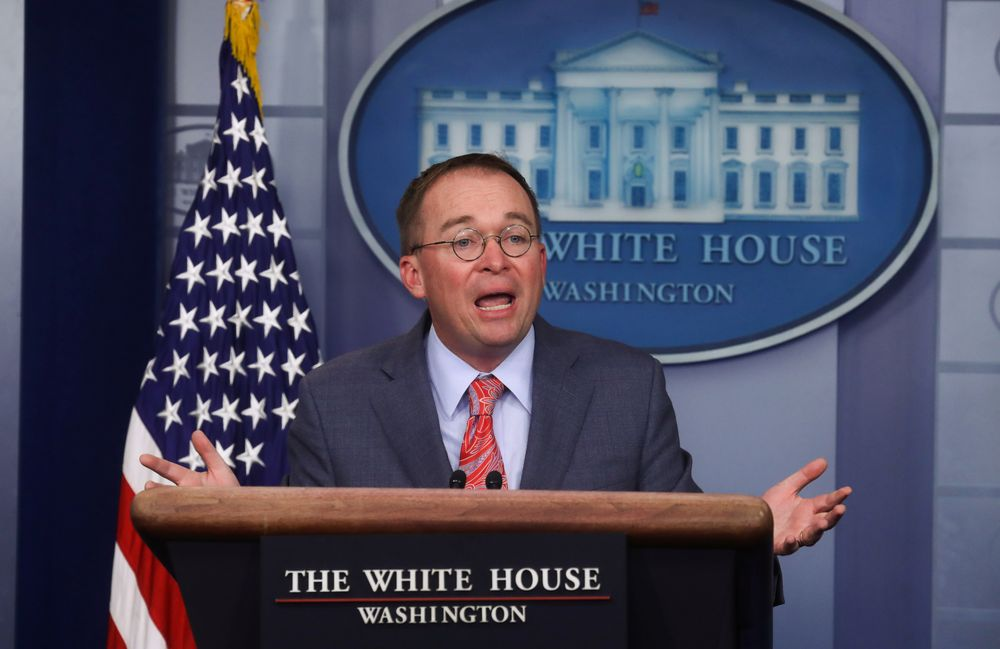 Acting White House Chief of Staff Mick Mulvaney answers questions from reporters during a news briefing at the White House in Washington October 17, 2019. — Reuters pic