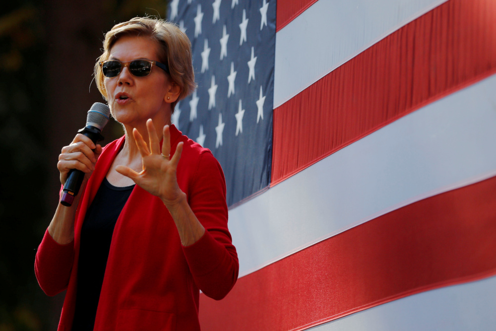 Democratic 2020 US presidential candidate and Senator Elizabeth Warren speaks at a campaign town hall meeting at Dartmouth College in Hanover, New Hampshire, US, October 24, 2019. — Reuters pic