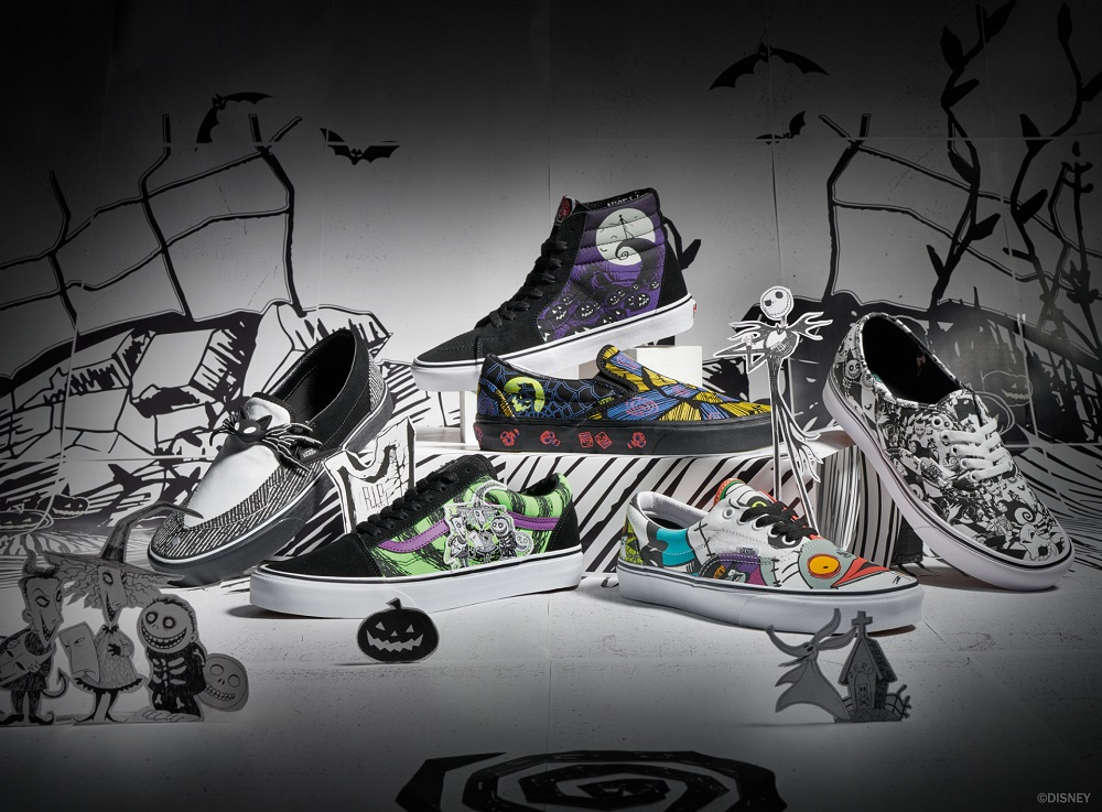 The Vans x Disney 'Nightmare Before Christmas' collection is composed of 10 shoe models. ― Picture courtesy of Vans x Disney