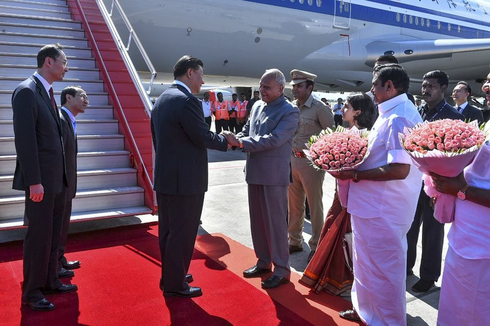 China's President Xi Jinping arrives in Chennai, to attend a summit with India's Prime Minister Narendra Modi at the World Heritage Site of Mahabalipuram October 11, 2019 in Tamil Nadu state. — Indian Ministry of External Affairs/AFP pic