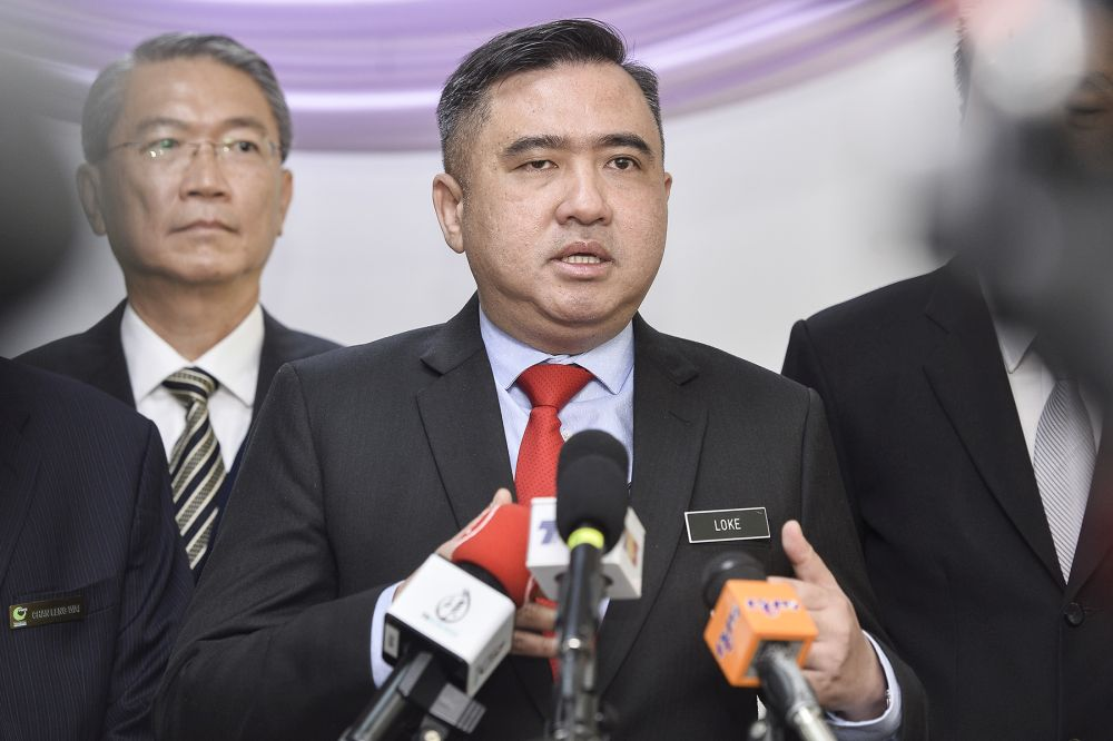 Transport Minister Anthony Loke gives a speech during the launch of the Port Klang Free Zone Transformation Master Plan in Port Klang October 23,2019. — Picture by Miera Zulyana