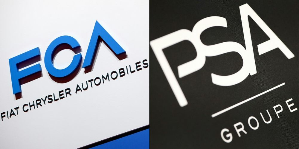 This combination of file pictures created on October 30, 2019 shows the FCA (Fiat Chrysler Automobiles) logo and the logo of French carmaker PSA Peugeot Citroen. — AFP pic