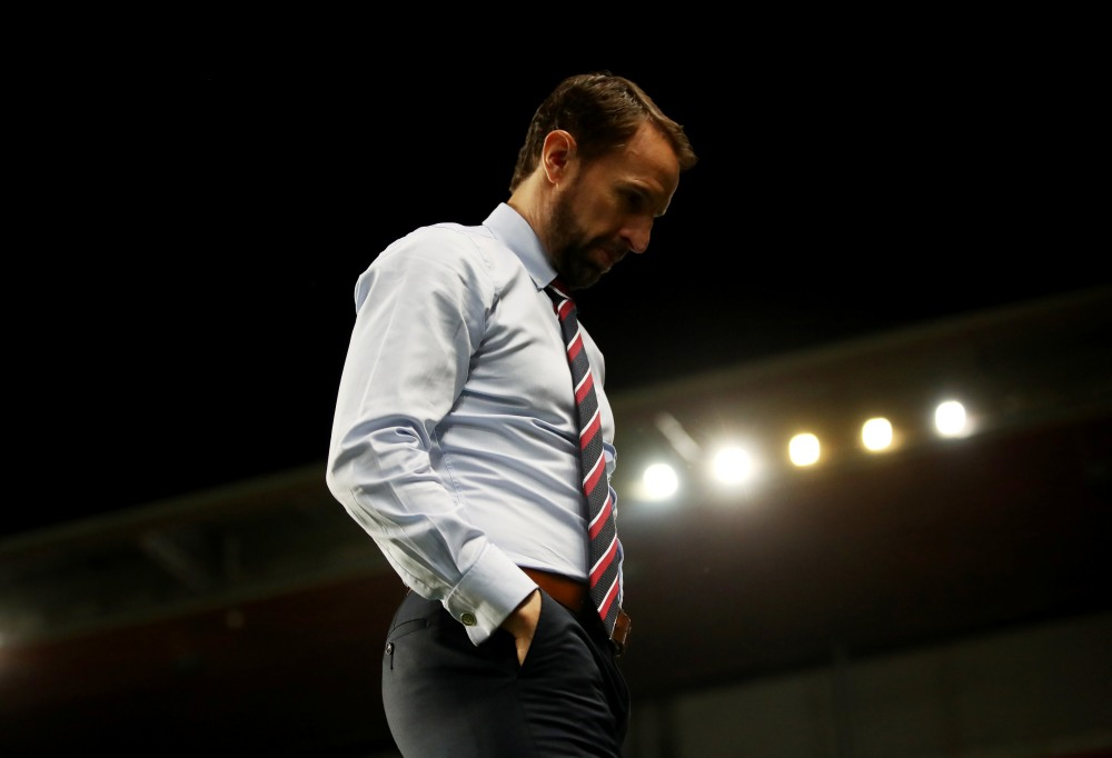 England manager Gareth Southgate looks dejected after the match against Czech Republic, October 12, 2019. ― Reuters pic