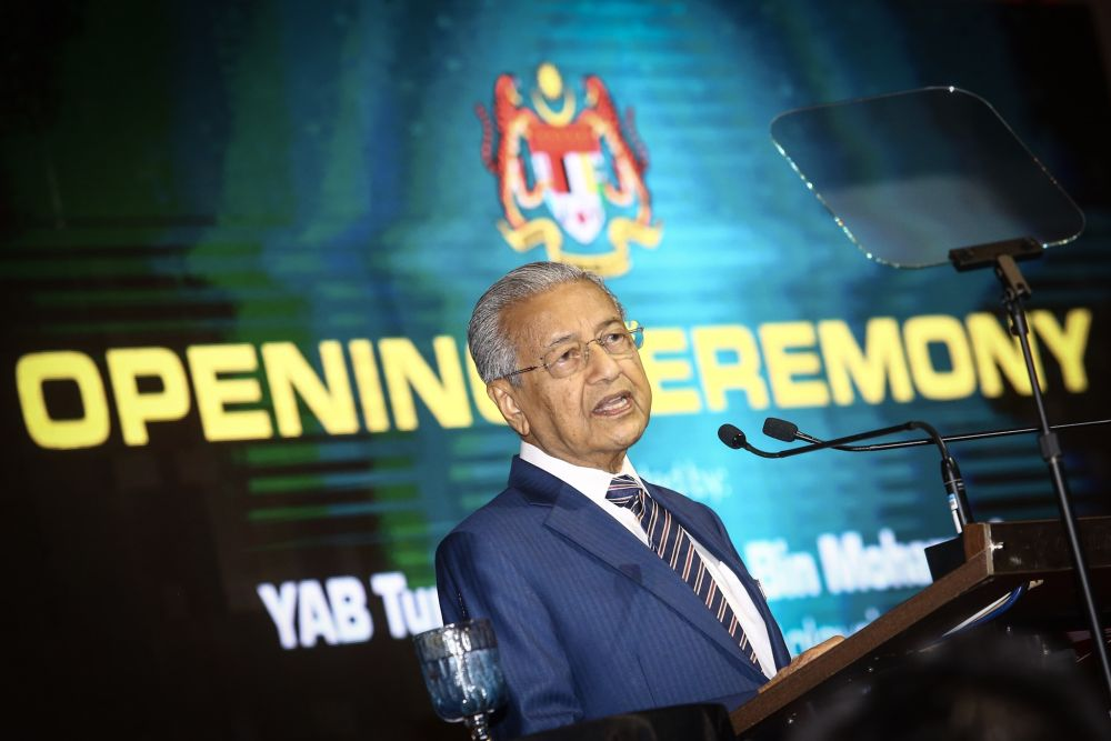 Prime Minister Tun Dr Mahathir Mohamad delivers his speech during the opening ceremony of the 10th International Greentech and Eco Products Exhibition and Conference in Kuala Lumpur October 10, 2019. — Picture by Hari Anggara