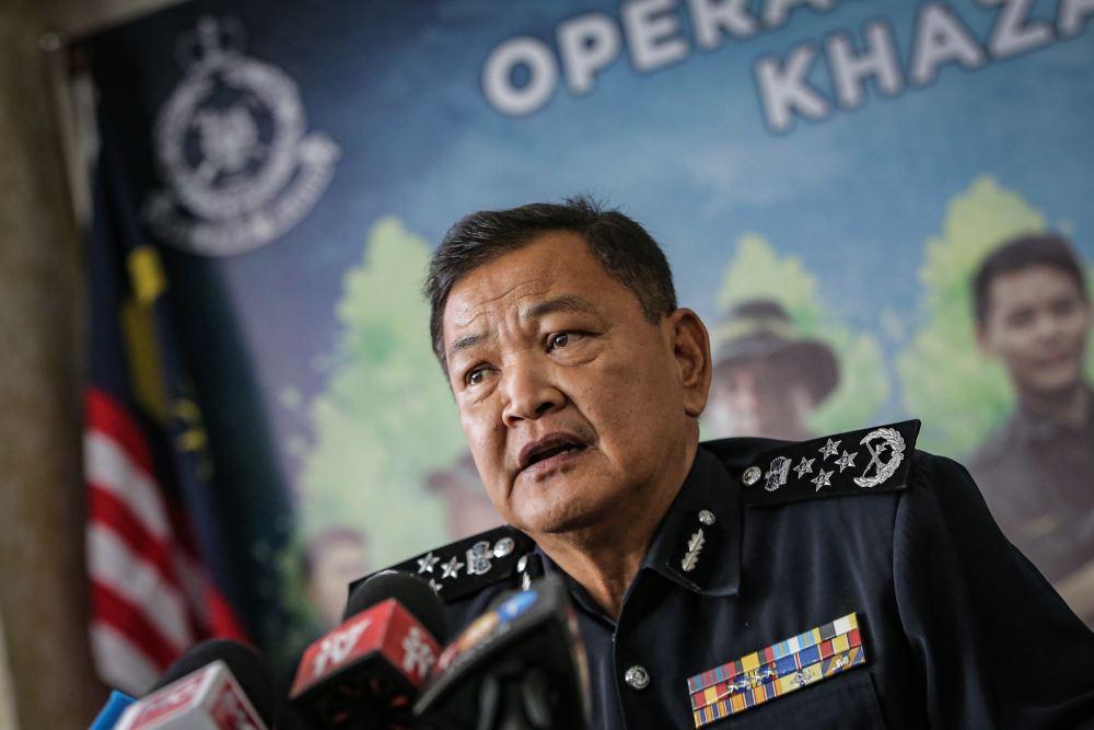 IGP Datuk Seri Abdul Hamid Bador speaks during a press conference in Bukit Aman October 30, 2019. ― Picture by Hari Anggara