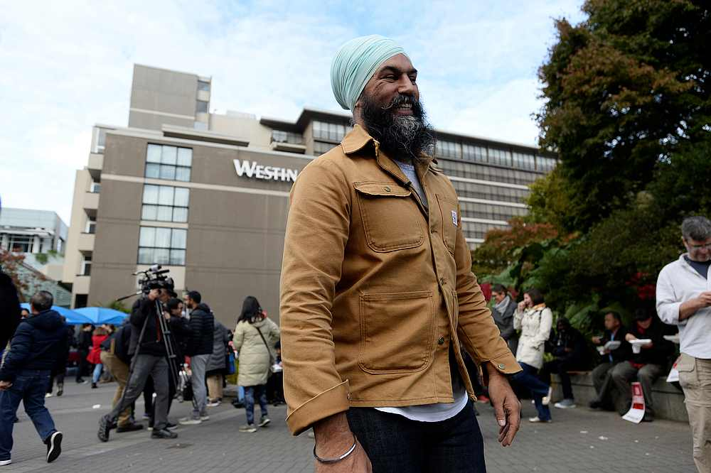 New Democratic Party (NDP) leader Jagmeet Singh outside of the Westin Bayshore where workers were picketing in Vancouver, British Columbia, Canada October 14, 2019. — Reuters pic