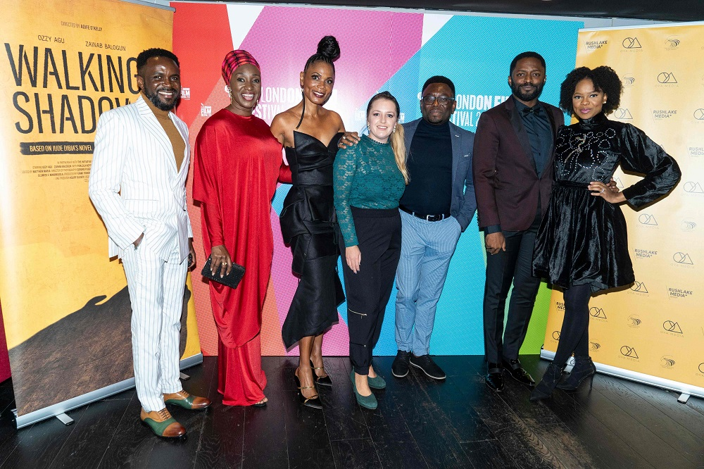 From left: Producer Olumide Femi, actress Funlola A Raimi, producer Funni Iyanda, director Aofie O'kelly, author Jude Dibia, actor Ozzy Agu and actress Zainab Balogun pose as they arrive the 'Walking With Shadows' UK Premiere at the London Film Festival October 9, 2019. — AFP pic