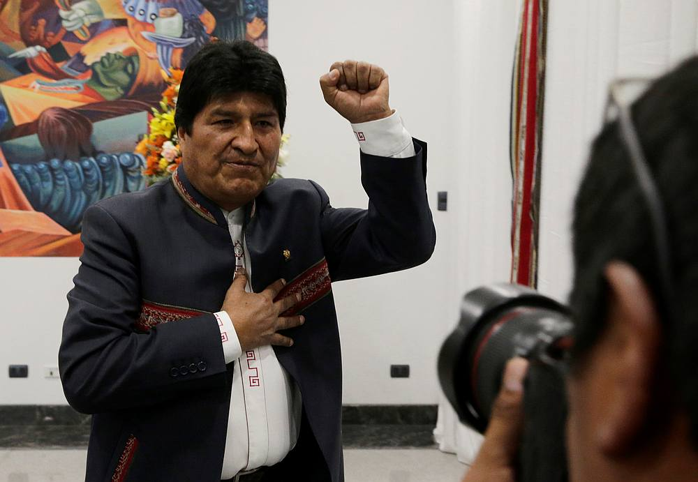 Bolivia's President Evo Morales gestures after a news conference at the presidential palace La Casa Grande del Pueblo in La Paz October 24, 2019. — Reuters pic