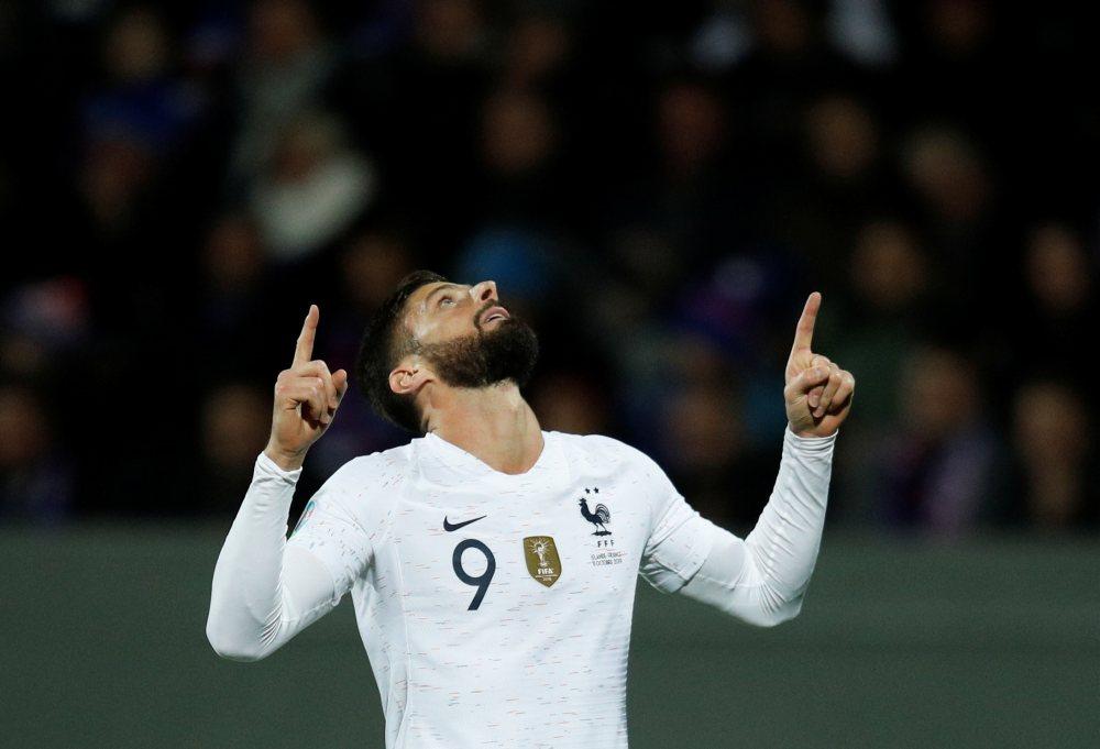 France's Olivier Giroud celebrates scoring a goal against Iceland October 12, 2019. ― Reuters pic