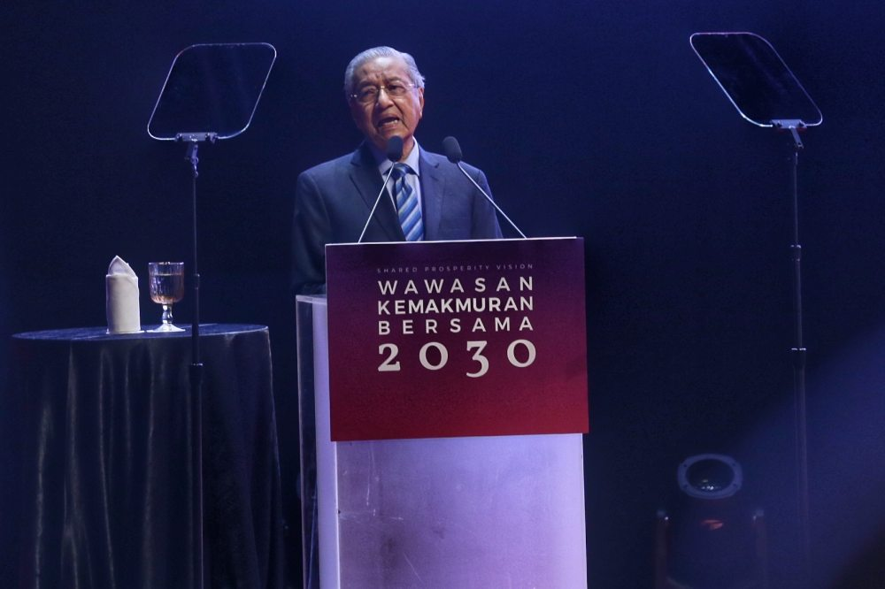 Prime Minister Tun Dr Mahathir Mohamad speaks during  the launch of the Shared Prosperity Vision 2030 in Kuala Lumpur October 5, 2019. ― Picture by Ahmad Zamzahuri