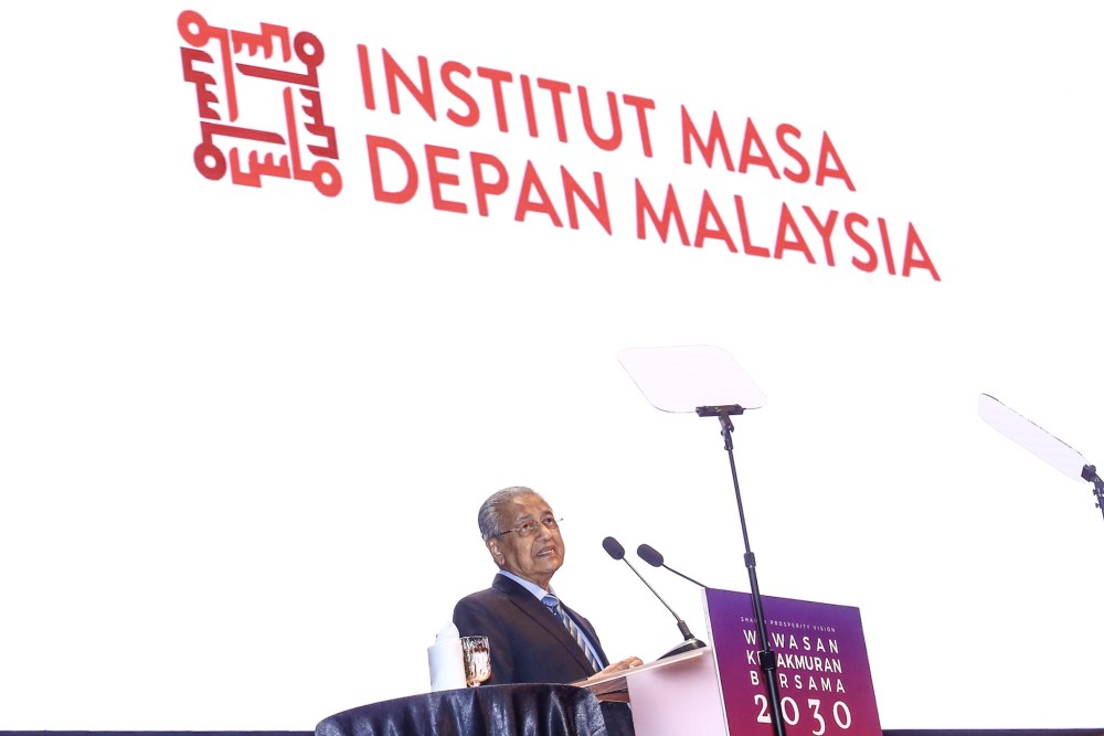 Prime Minister Tun Dr Mahathir Mohamad speaks during the launch of the Shared Prosperity Vision 2030 in Kuala Lumpur October 5, 2019. ― Picture by Hari Anggara