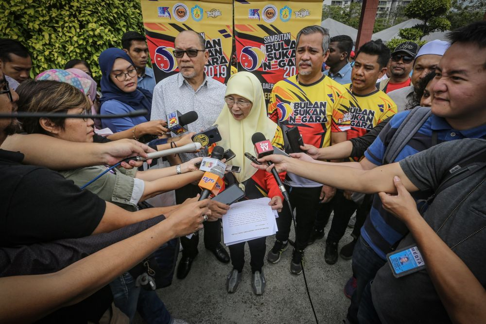 Deputy Prime Minister Datuk Seri Dr Wan Azizah Wan Ismail speaks to reporters at the Ampang Jaya Municipal Council October 13, 2019. — Picture by Hari Anggara