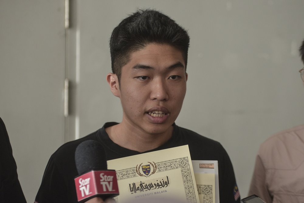 Student activist Wong Yan Ke, who is former president of the University of Malaya Association of New Youth, denied any wrongdoing over the act of recording a video of the incident.― File picture by Shafwan Zaidon