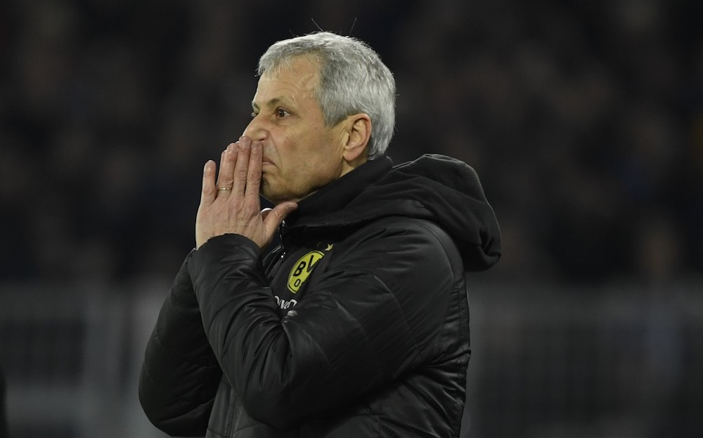 There is a year left on Lucien Favre's contract, but there has been speculation he may leave as his Dortmund side has finished second to Bayern for the last two league seasons. — AFP pic