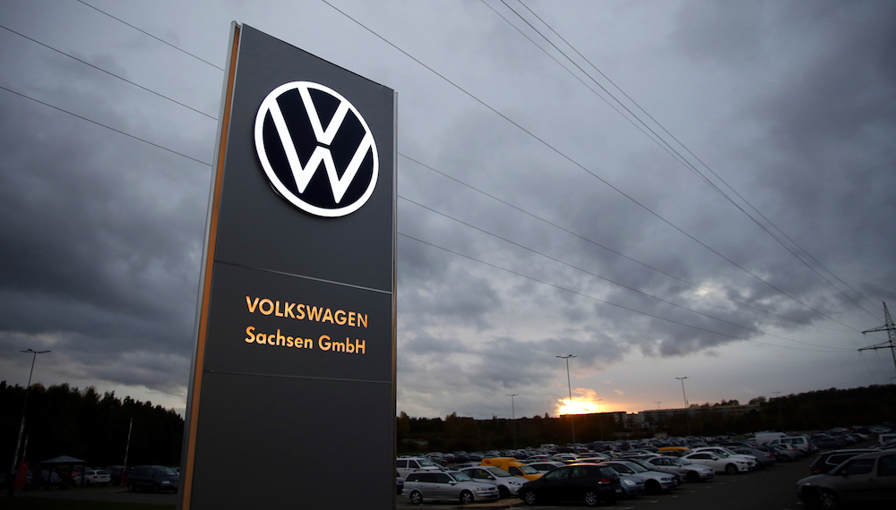 The logo of German car maker Volkswagen is seen at the car factory in Zwickau, eastern Germany November 4, 2019. — AFP pic