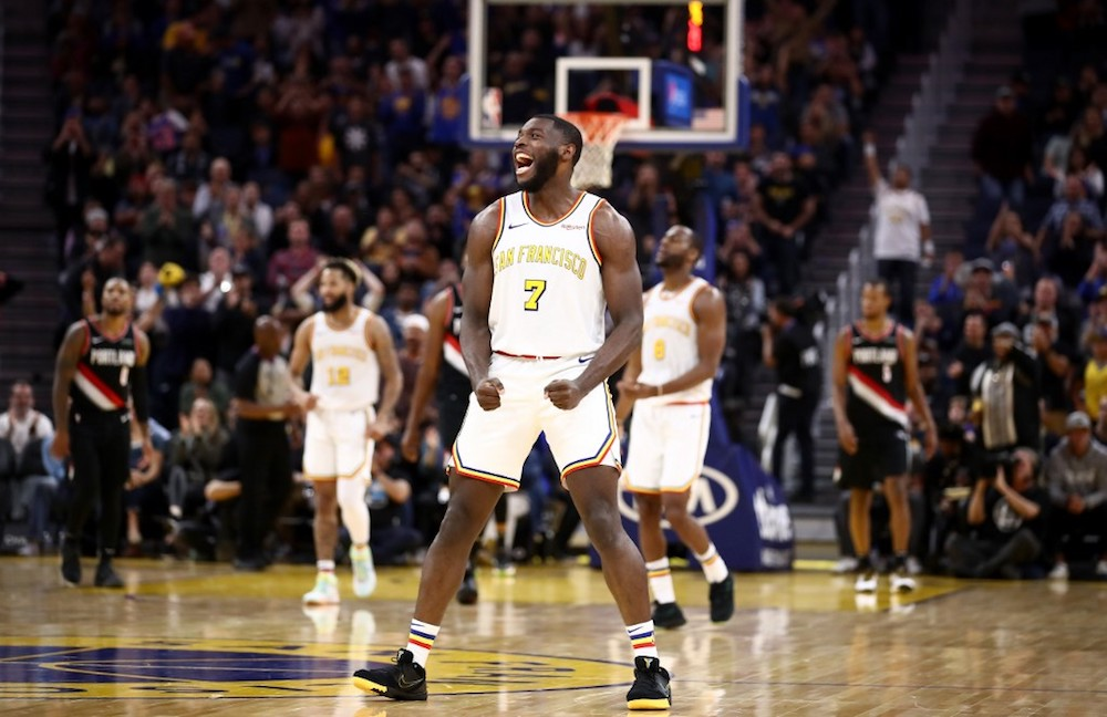 Eric Paschall of the Golden State Warriors reacts during their game against the Portland Trail Blazers at Chase Centre in San Francisco November 4, 2019. — AFP pic