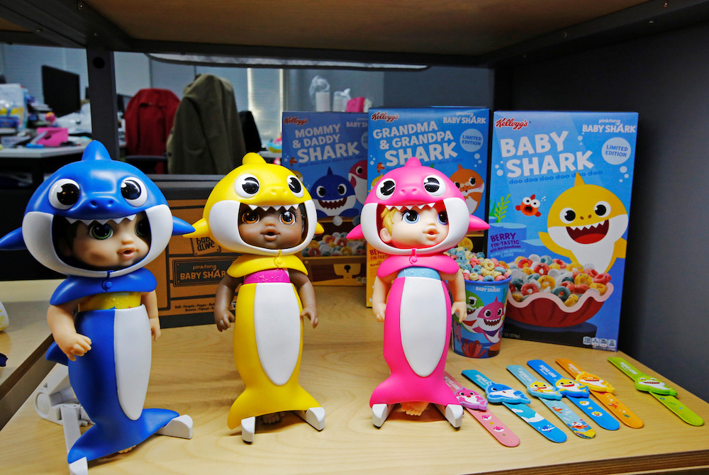 Baby Shark characters are seen on display at the company's office in Seoul November 12, 2019. — Reuters pic