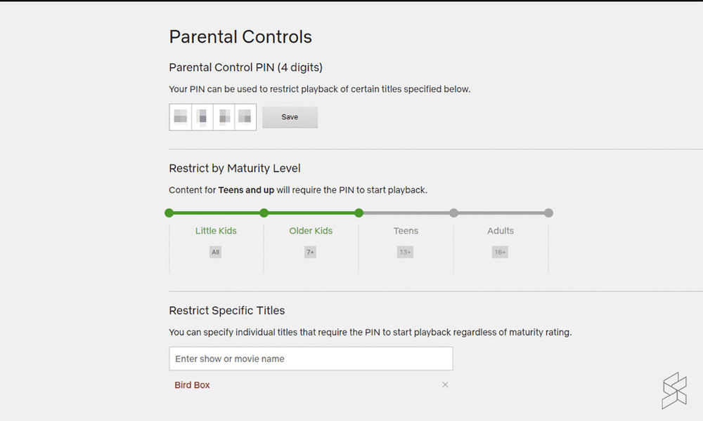 Netflix's second layer of parental controls that requires a PIN.