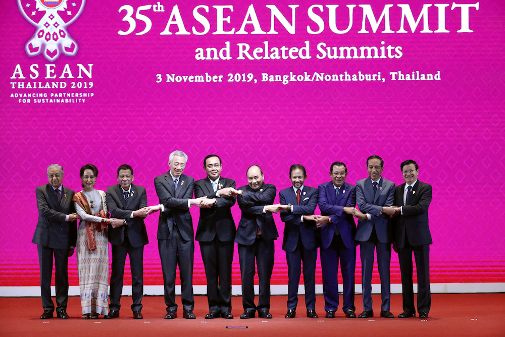 Leaders of the Association of Southeast Asian Nations shake hands at the Opening Ceremony of the 35th Asean Summit in Bangkok November 3, 2019. — Reuters pic