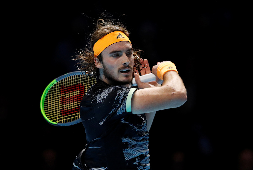 Greece's Stefanos Tsitsipas in action during his semi-final match against Switzerland's Roger Federer Tennis at the ATP Finals in London November 16, 2019. — Reuters pic