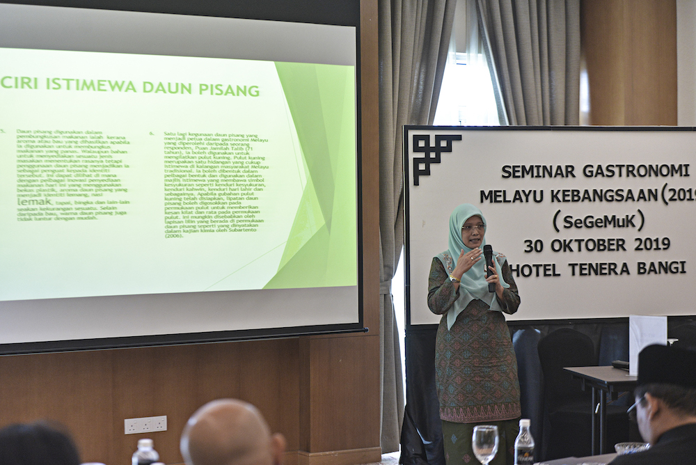 Ros Mahwati Ahmad Zakaria speaks during the Seminar Gastronomi Melayu Kebangsaan 2019 in Bangi October 30, 2019. — Picture by Shafwan Zaidon