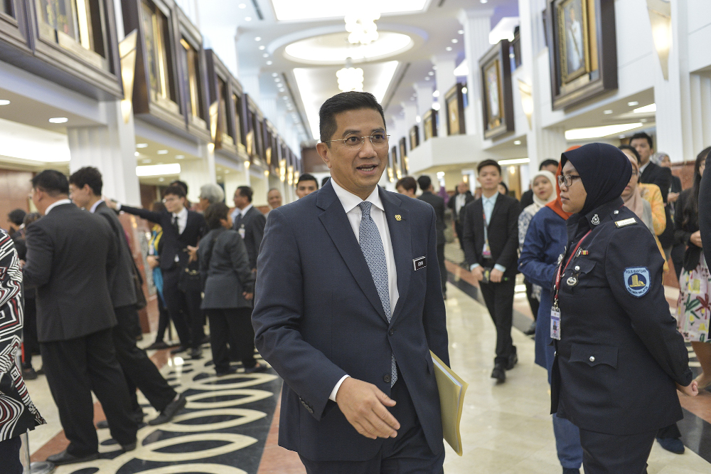 Minister of Economic Affairs Datuk Seri Azmin Ali leaves the Parliament building in Kuala Lumpur November 7, 2019. — Picture by Shafwan Zaidon